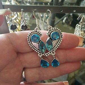 Jewelry - Blue Topaz Dangle earrings Sterling. 925 filled